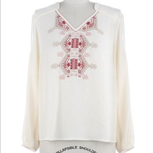 NWT Embroidered Peasant Top